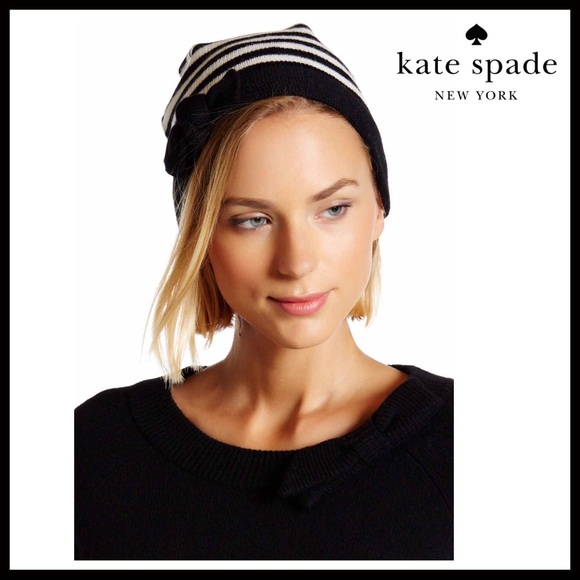 b92dc8e158347 KATE SPADE SIGNATURE BLACK WHITE STRIPE BOW BEANIE